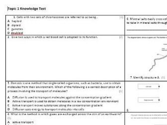 Edexcel CB3 Biology Knowledge Assessment