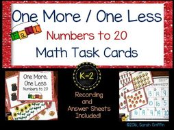One More, One Less FALL Task Cards Math Center