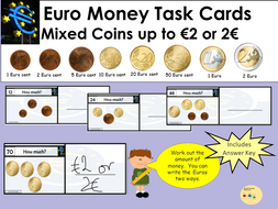 EURO Money Task Cards- Add Mixed Coins to Value of 5 Euros, Recording Sheet, Blank Cards and Coins