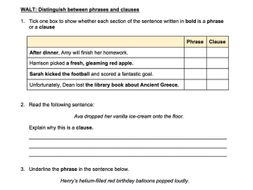 SPaG Questions: Distinguish between Phrases and Clauses