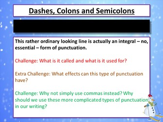 Christmas - Semicolons, colons and dashes