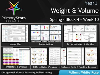 YEAR 1 - Measurement Weight & Volume - White Rose - WEEK 10 - Block 4 - Spring- Differentiated Pack
