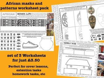 African Masks and Patterns Worksheets - set of 3