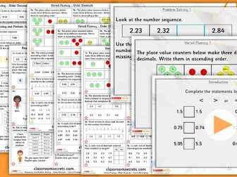 Year 4 Order Decimals Summer Block 1 Lesson Pack