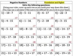 gcse maths 150 negative numbers questions and answers