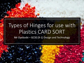 Types of Hinges for use with Plastics CARD SORT
