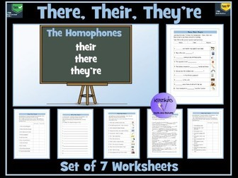 Homophones: There, Their and They're Worksheets