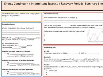 A-Level PE: Energy System Summary Sheet