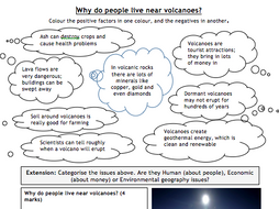KS3 Geography: reasons why people live near volcanoes worksheet by ...