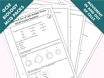 GCSE Biology: Multiple-Choice Topic Question Pack On Movement In & Out Of Cells