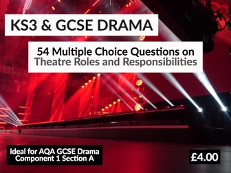 54 Multiple Choice Questions on Theatre Roles