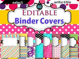 binder covers editable with 50 colorful designs by ilaxippatel