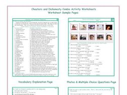 Cheaters and Dishonesty Combo Activity Worksheets