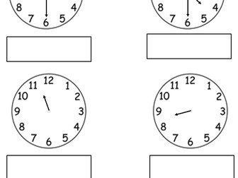 Year 1 O Clock And Half Past 14 Worksheets By Tar00 Teaching