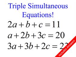 Triple Simultaneous Equations