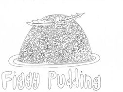 figgy pudding christmas colouring page