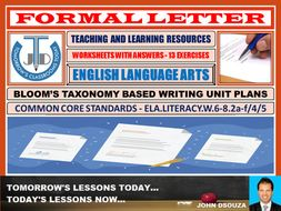 FORMAL LETTER WRITING: WORKSHEETS WITH ANSWERS