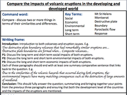 Year 9 / KS4 Geography, essay assessment sheet. Topic: Volcanoes ...