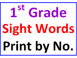 First Grade Sight Words Print by Number