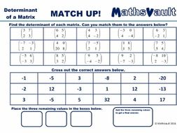 Calculating determinants Matrices Worksheet