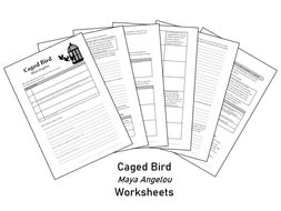 Caged Bird - Maya Angelou - Worksheets for comprehension and analysis