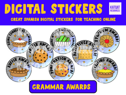 Grammar Digital Stickers - Distance Learning - Awards