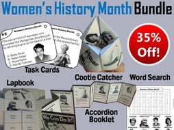 Women's History Month Task Cards and Activities Bundle