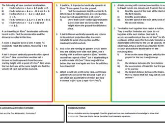 Kinematics Practice  (A-Level)