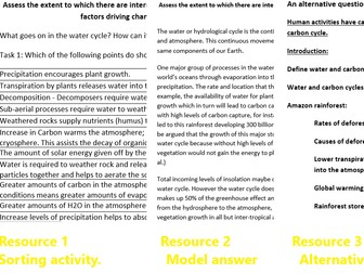 Assess the extent to which there are interrelationships between processes in water cycle and factors