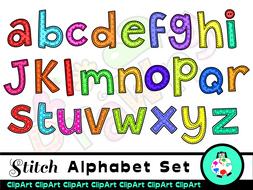 Stitch Craft Alphabet Clip Art Letters