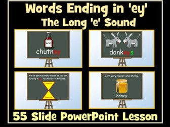 55 Slide PowerPoint Lesson: Words Ending in 'ey' - The Long 'e' Sound