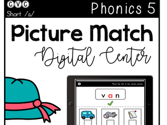 CVC Short A - Digital Center - Picture Match - Phonics (Google Classroom)