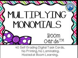 Multiplying Monomials Boom Cards--Digital Task Cards