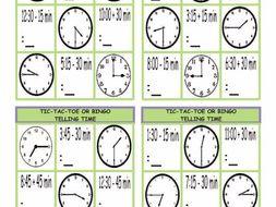 Telling Time Tic-Tac-Toe or Bingo