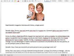 family relationships reading tasks and mark scheme