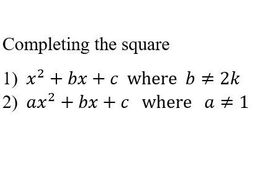 Completing the square: extra practice, with solutions