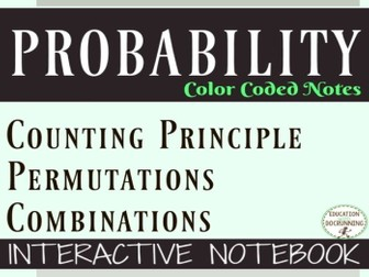 Permutations and Combinations Color Coded Interactive Notebook