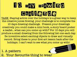 10  Day drawing Challenge homework assignment KS3 art