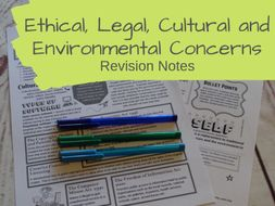 Ethical, Legal, Cultural and Environmental Concerns Revision