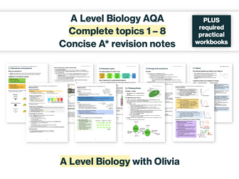 SAVE 50% Concise A* Complete A Level Biology AQA Spec & Mark Scheme Based Revision Notes / Summary (topic 1-8) and required practical workbook