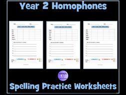 Homophones: Year 2 - Spelling Worksheets