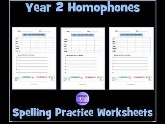 Homophones: Year 2 - Spelling Practice Worksheets