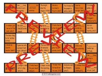 Past Simple Tense with Irregular Verbs Chutes and Ladders Board Game