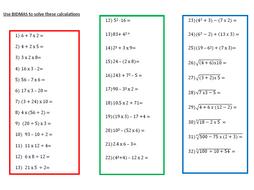 A Worksheet on BIDMAS (1)