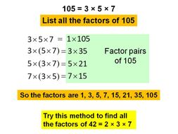 Using prime factors to find all factors