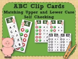 Alphabet Clip Cards Upper and Lower Case Recognition - Pigs
