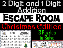 Two Digit and One Digit Addition Escape Room Christmas