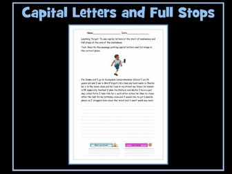 Full Stops and Capital Letters Worksheet - SEN Resource