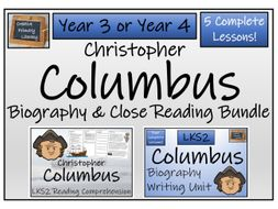 LKS2 History - Christopher Columbus Reading Comprehension & Biography Bundle