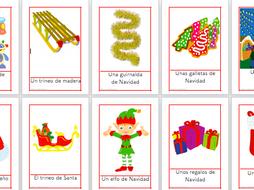 25 Flashcards Christmas Vocabulary in Spanish- Navidad